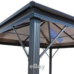 10x10 Hard Top Gazebo Pergola En Aluminium Métal Grand Abri Canopy Extérieur Ombre