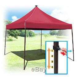 10x10ft Instantanée Auvent Tente W Led Solaire Système Pliant Gazebo Réglable En Hauteur