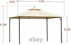10x12 Ft Outdoor Gazebo Shade Canopy Steel Frame Patio Deck Backyard Shelter