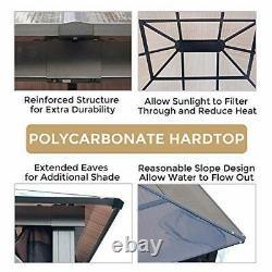 10x12 Gazebo Hardtop Extérieur Pour Patios Métal Cadre En Aluminium Polycarbonate Top
