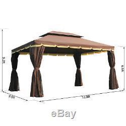 10x13 Double Top Gazebo Canopy Avec Maille Filet Rideaux Cadre Aluminium