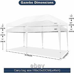 10x20' Pop Up Canopy Tente Commercial Instantané Gazebo Canopy Pliage + 6 Parois Latérales