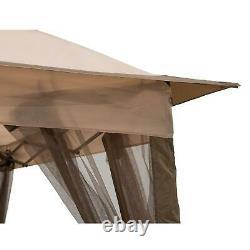11' X 11' Jardin Extérieur Gazebo Patio Canopy Steel Sun Shelter Mosquito Netting
