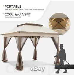 11'x11' Gazebo Pop-up Tente Instantanée Avec Moustiquaire Gazebo Abri Canopy