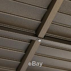 12' X 10' Arrière En Acier Hardtop Cadre En Aluminium Gazebo Avec Rideau Blindé