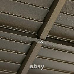 12' X 10' Cadre En Aluminium De Toit Rigide En Acier Inoxydable Gazebo Avec Rideau Sérigraphié