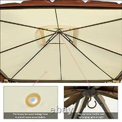 12 X 12 Canopée Extérieure Gazebo Double Toit Patio Gazebo Cadre En Acier Avec