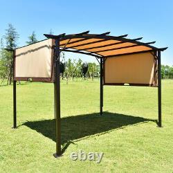12' X 9' Pergola Kit Cadre En Métal Gazebo Et Polyester Amovible Canopy Cover Patio