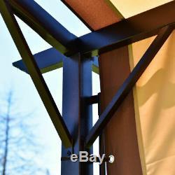 12' X 9' Pergola Kit Cadre Métal Gazebo & Canopy Cover Patio Abri Meubles