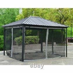 12'x10' Cadre En Acier Patio Extérieur Gazebo Pavillon Canopée Tente Avec Rideaux Nouveau