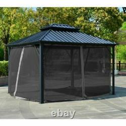 12'x10' Patio Extérieur Gazebo 2-tier Toit Pavillon Vented Canopy Tente Cadre En Acier