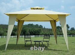 12x12 Gazebo Cadre En Acier Canopy Beige Pergola Zippé Mosquito Netting