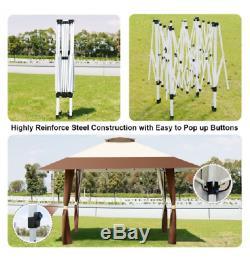 13' Gazebo Patio Extérieur Pliant Canopy Portable Pop Up Gazebos Cour Arrière 2 Niveau