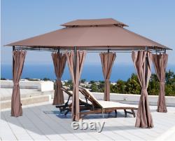 13 X 10 Métal Gazebo Steel Frame Tiered Tan Roof Patio Garden Canopy W Rideaux