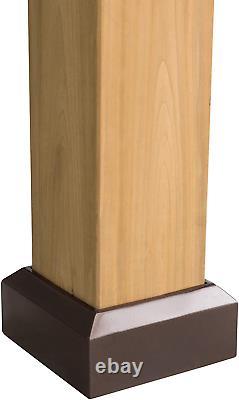 13 X 15 Pieds Cedar Encadré Gazebo Avec Acier 2 Tier Hip Toit Hardtop Brown Nouveau