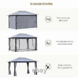 13' X 9.7' Backyard Pergola With Steel/aluminum Frame & Netted Sidewalls, Grey