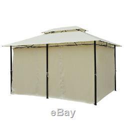 13'x10' Extérieur Patio Gazebo 2-tier Toit Pavillon Ventilé Auvent Tente Acier