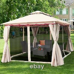 13'x10' Outdoor Canopy Gazebo Art Cadre En Acier Party Patio Canopy Gazebo Withnetting
