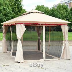 13'x10'outdoor Canopy Gazebo Art Cadre En Acier Patio Party Canopy Gazebo Withnetting