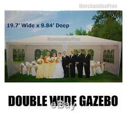 19 Ft Double Wide Gazebo Canopée Pare-soleil Withsteel Avec Cadre Nouveau Nécessaire