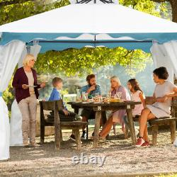 2 Tier 10'x10' Patio Gazebo Canopy Tent Steel Frame Shelter Auvent Withside Walls