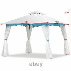 2 Tier 10'x10' Patio Gazebo Canopy Tente De Cadre D'acier Auvent Avec Parois Latérales