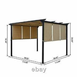 304382 Dione Outdoor Steel Framed 10' Gazebo, Beige/brun