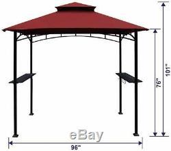 8'x 5' Grill Gazebo Barbecue Barbecue Canopy Extérieur Pique-nique Patio Ombre Tente Bourgogne