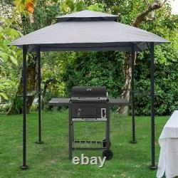 8x5 Ft Outdoor Grill Gazebo Shelter Tente Double Tier Soft Top Canopy &steel Frame