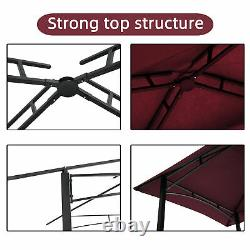 8x5 Ft Shelter Tente Extérieur Grill Gazebo Double Tier Soft Top Canopy Steel Frame