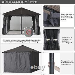 Abccanopy 10x10 Gazebo Pour Jardin Extérieur, Cadre En Acier Avec Protection De La Vie Privée