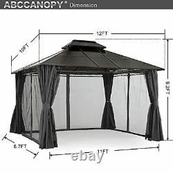 Abccanopy 10x12 Structure En Acier Gazebo À Toit Doublement Ventilé Pour Gar Extérieur