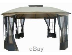 Acier Gazebo Grand 13 X 13 Mosquito Mesh Écran Ventilé Big Outdoor Garden Canopy