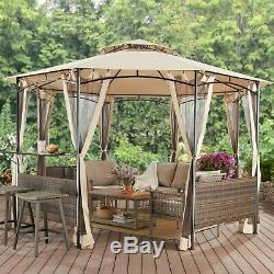 Acier Gazebo Grand Canopy 13 Pieds Écran Osier Moustiquaire Rideaux Octagon
