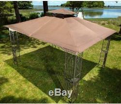 Acier Gazebo Grande Pergola Ventilé Double Toit Canopy Tente Patio Cour Arrière Abri