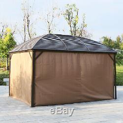 Acier Hardtop Gazebo Patio Tente D'extérieur En Aluminium Abri Soleil Avec Rideau