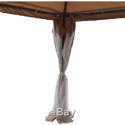 Aleko 10x13 Ft Entièrement Fermé Jardin Gazebo Canopy Mesh Moustiquaire Brown