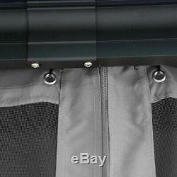 Aleko Double Toit En Aluminium Et En Acier Hardtop 12' X 10' Gazebo Avec Moustiquaire