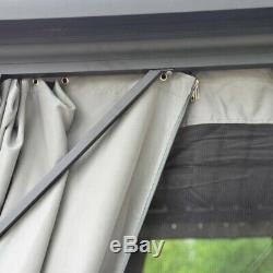 Aleko En Aluminium Et En Acier Hardtop Gazebo Avec Moustiquaire Et Rideau 10x10 Pi