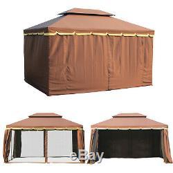 Aluminium Gazebo 10'x13' Tente De Jardin Abri Parois Toit Pavillon Sun Cover