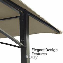 Asteroutdoor 8x5 Grille Extérieure Gazebo 2-tier Vented Bbq Canopy Steel Frame Brown
