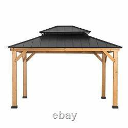 Bridgeport 11 X 13 Pieds Cedar Framed Gazebo Avec Steel Hardtop, Black Sunjoy