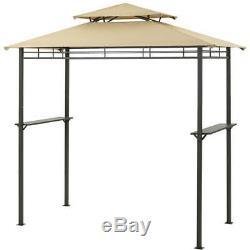 Brown 4x8 Bbq Grill Gazebo Heavy Duty Extérieur Cour Arrière Légère Canopy Tente