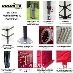 Bulhawk 3x6 Premium Plus Robuste 40mm Commercial Grade Pop Up Gazebo Marquise