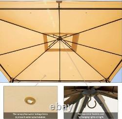 Cadre En Acier De 10'x12' De Patio Canopy Gazebo Extérieur, Plateau Beige Doux Ventilé Livraison Gratuite