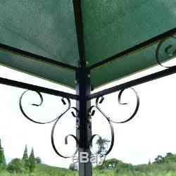Cadre En Acier Gazebo 2 Niveau Carré 10 X 10 Tente Verte Canopy Extérieur Avec Décoratif