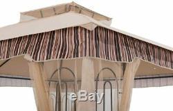 Cadre En Acier Gazebo Avec Netting 10'x 10' Tente Soft Top Polyester Tissu Canopy