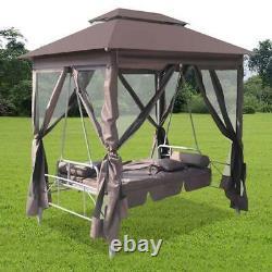 Canopy Gazebo Swing Rocking Chair Patio Daybed Cadre En Acier Élégant Et Spacieux