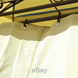 Charles Bentley Gazebo En Acier Beige Et Polyester Avec Rideaux Latéraux 3m X 4 M
