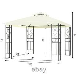 Costway 2 Tier 10'x10' Patio Gazebo Canopy Tente Boîtier En Acier Auvent